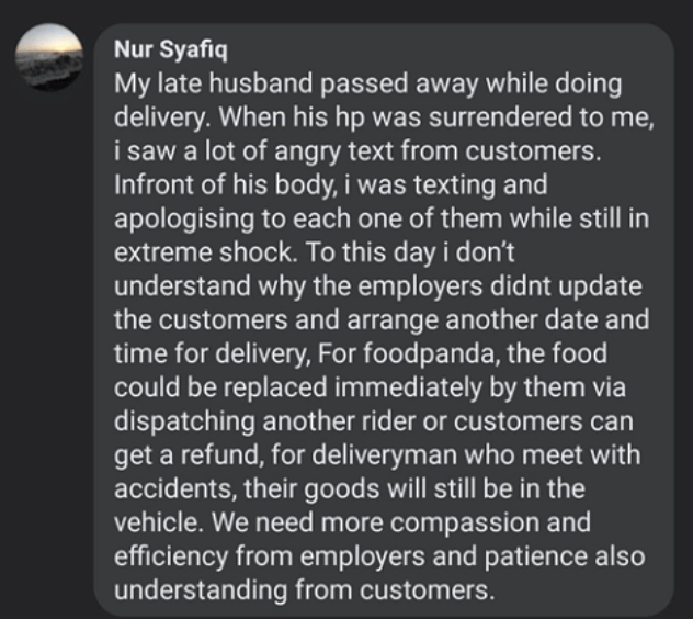 text message of the wife of a delivery rider